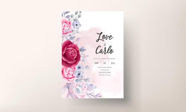 Beautiful watercolor floral wedding invitation card