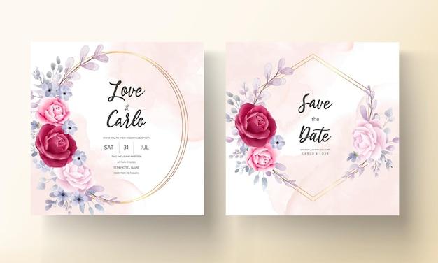 美しい水彩画の花の結婚式の招待カード