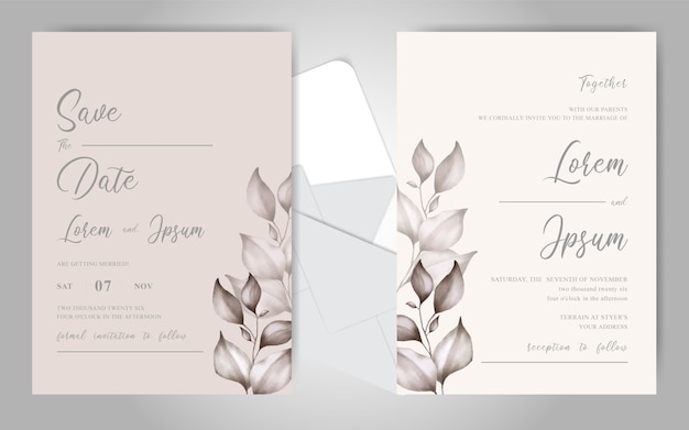 Beautiful watercolor floral wedding invitation cards template