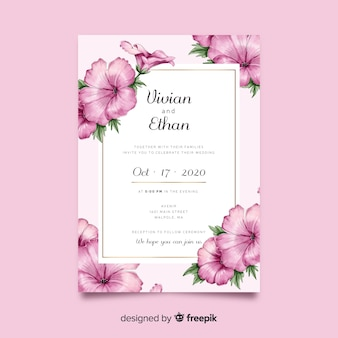 Beautiful watercolor floral wedding invitation template