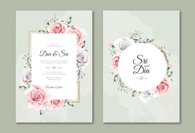 Beautiful watercolor floral wedding invitation templates