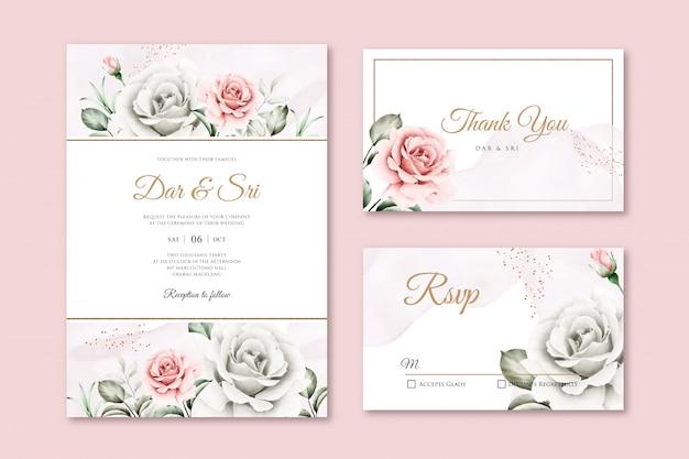 美しい水彩花の結婚式の招待状のテンプレート