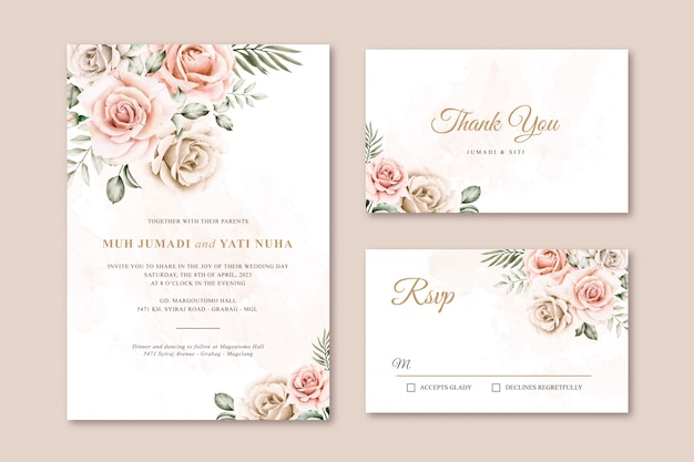 Beautiful watercolor floral wedding invitation templates