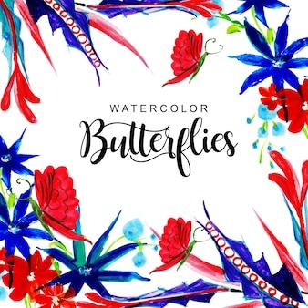 蝶の背景と美しい水彩の花