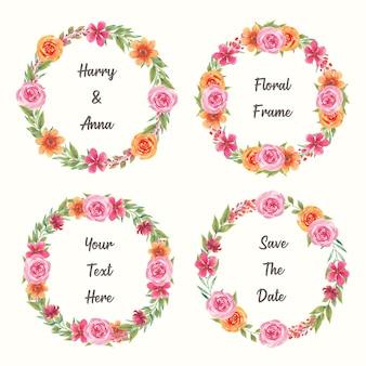 春夏のデザインのための美しい水彩花輪ベクトルコレクション
