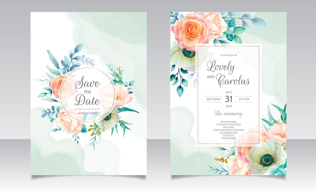 Beautiful watercolor floral wreath wedding invitation card template
