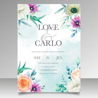 Красивая акварель венок свадебный шаблон приглашения карты