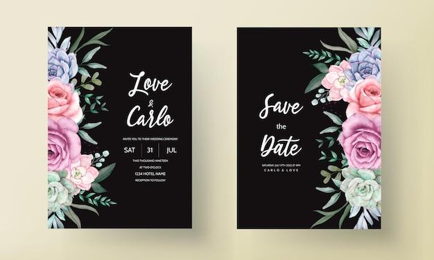 Beautiful watercolor floral wreath wedding  invitation card
