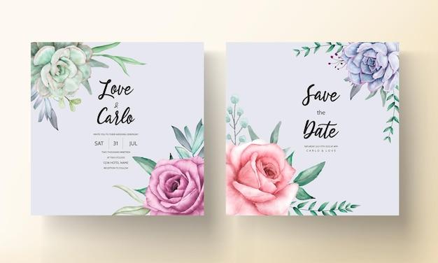 Bellissimo biglietto d'invito per matrimonio con ghirlanda floreale ad acquerello