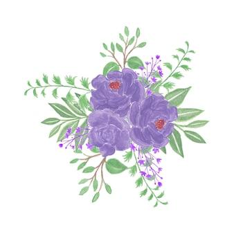 紫色の花と美しい水彩画の花の花束