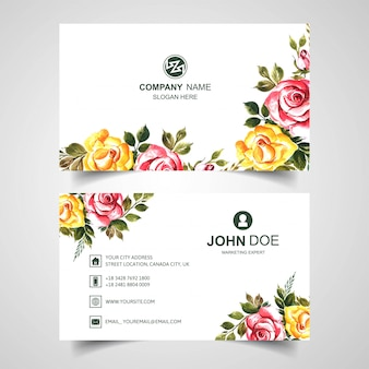 Beautiful watercolor flower on business card template