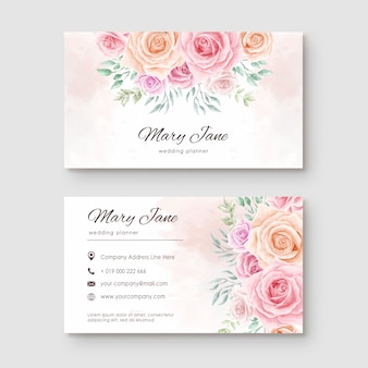 Beautiful watercolor flower business card