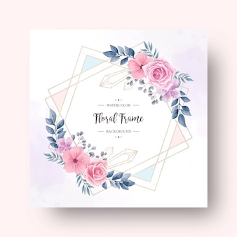Beautiful watercolor flower decoration with gold frame