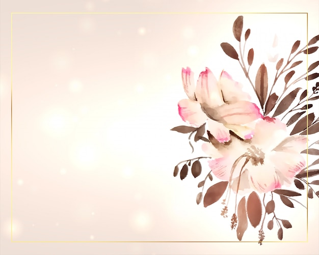 Beautiful watercolor flower decoration with text space