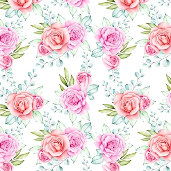 Beautiful watercolor flower and leaves seamless pattern