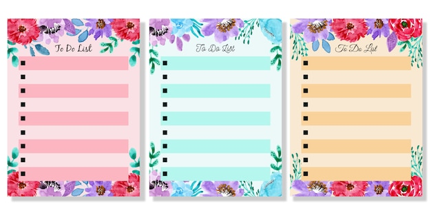 Beautiful watercolor flower to do list set