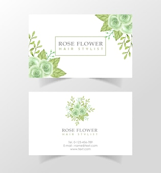 Beautiful watercolor flower visiting card template