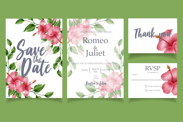 Beautiful watercolor flower wedding invitation card template floral