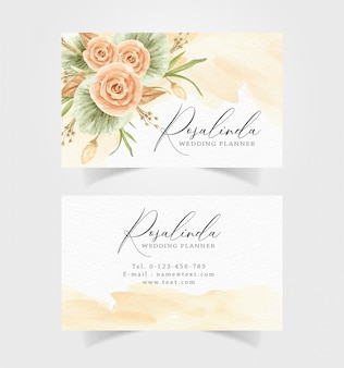 Beautiful watercolor flower with business card template
