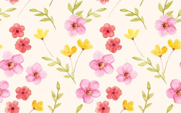 Красивые акварельные цветы как бесшовный фон