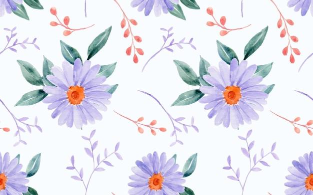 원활한 패턴으로 아름 다운 수채화 꽃