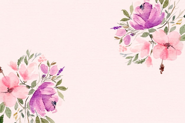 Beautiful watercolor flowers background with text space
