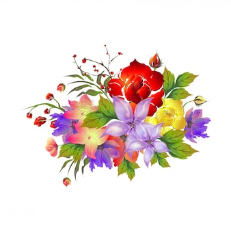 Beautiful watercolor flowers decorated background.