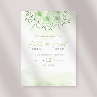 結婚式の招待状のテンプレートに美しい水彩花