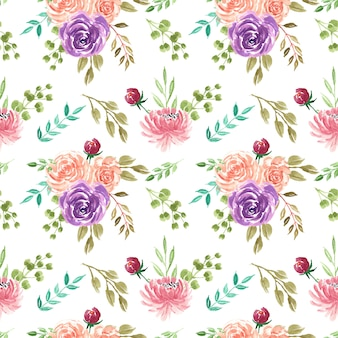 Beautiful watercolor flowers seamless pattern wallpaper