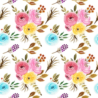 Beautiful watercolor flowers vintage seamless pattern wallpaper