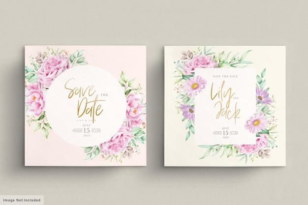 Beautiful watercolor flowers wedding card set
