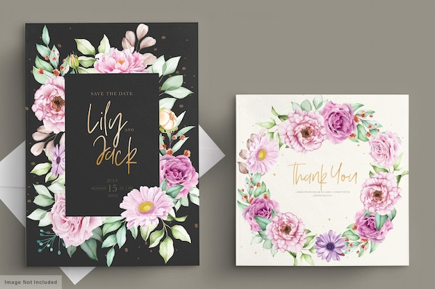 Beautiful watercolor flowers wedding card set