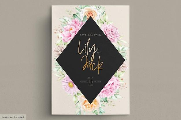 美しい水彩画の花のウェディングカード