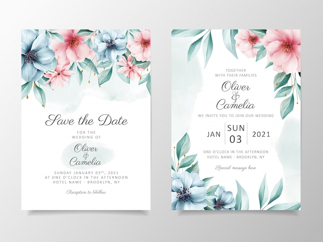 Beautiful watercolor flowers wedding invitation card template set.