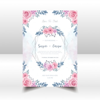 Beautiful watercolor flowers wedding invitation card