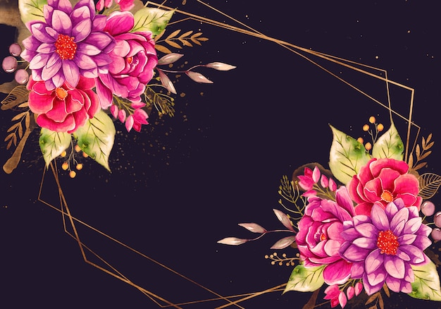 골드 프레임 아름 다운 수채화 꽃