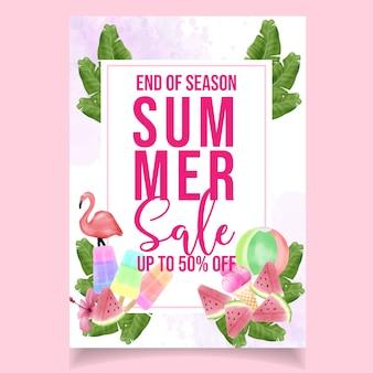 Beautiful watercolor flyer summer sale banner flamingo