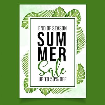 Beautiful watercolor flyer summer sale banner