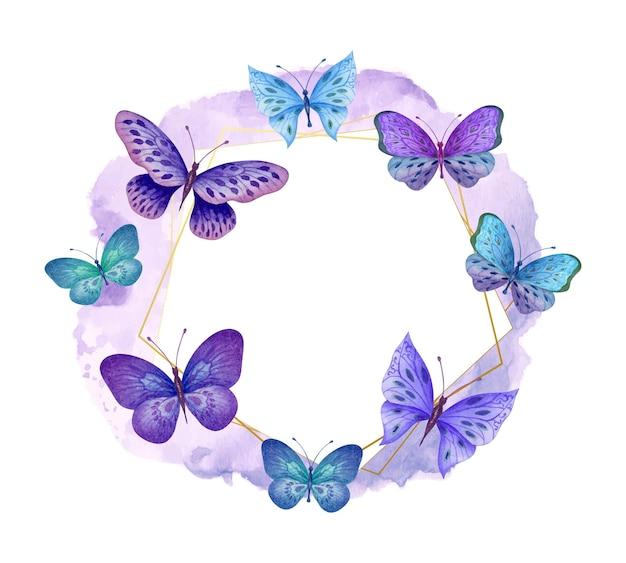 美しい水彩画の空飛ぶ蝶のフレーム