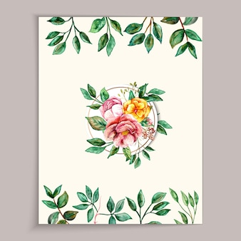 Beautiful watercolor frame colorful flower and leaf background template