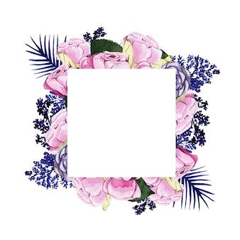 ピンクとブルーの花と美しい水彩フレーム