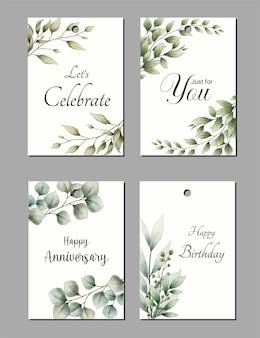 Коллекция наборов красивых акварельных рисованной поздравительных открыток
