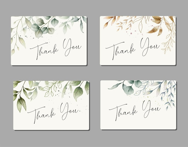 Beautiful watercolor hand drawn thank you cards set collection