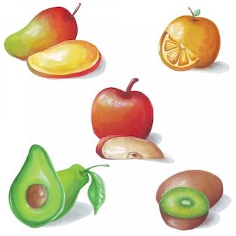 5甘酸っぱい果物の美しい水彩イラスト。