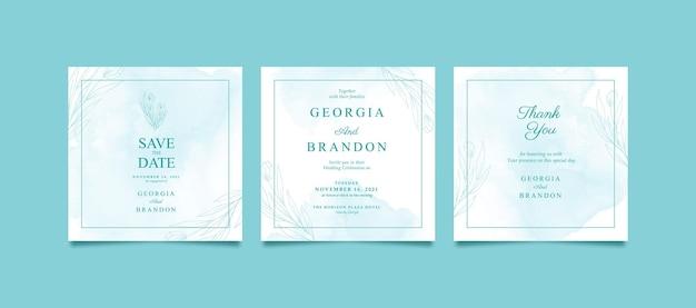 결혼식을위한 아름다운 수채화 instagram 게시물