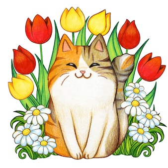Beautiful watercolor kitten in a tulip and daisy garden