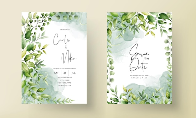 Beautiful watercolor leaf wedding invitation card with alcohol ink