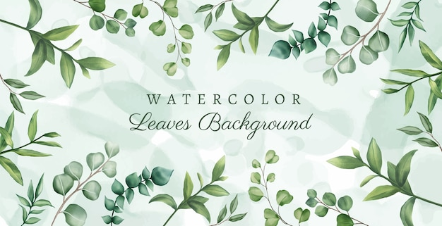Beautiful watercolor leaves background