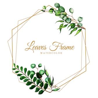 Beautiful Watercolor Leaves Frame