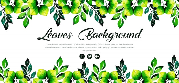 Beautiful watercolor leaves template